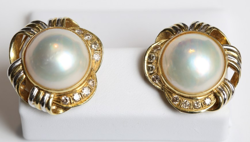Mabe Pearl and Diamond Earrings in Gold Swirl Frame
