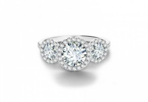 Round Halo Three Stone Engagement Ring