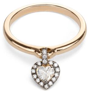 Jade Trau Rose Gold Heart Charm Ring
