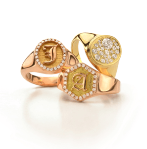 Jade Trau Yellow Gold Signet Rings