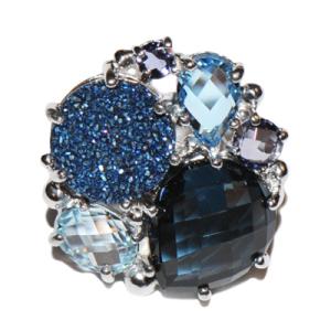 Anzie Bouquet Ring – London Blue Topaz & Blue Drusy