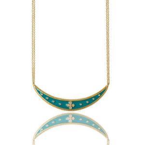Freida Rothman Clair Turquoise Enamel Flower Bib Necklace - $325