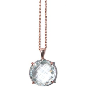 Anzie Classique Round Necklace – Clear Topaz & Rose Gold