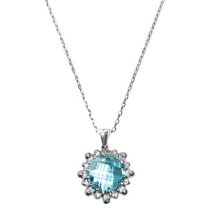 Anzie Dew Drop Mini Round Necklace Blue Topaz and Silver