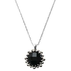 Anzie Dew Drop Mini Round Necklace- Black Onyx & Silver