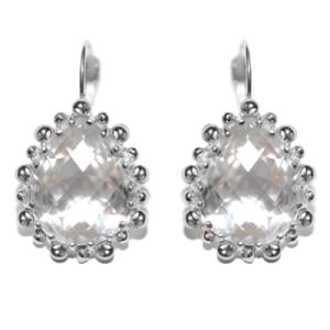 Anzie Dew Drop Pear Drop Earrings Clear Topaz & Silver