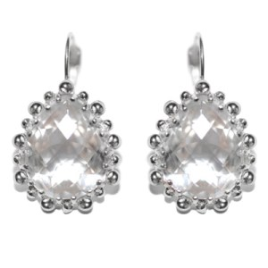 Anzie Dew Drop Pear Drop Earrings Clear Topaz & Silver