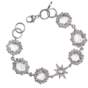 Anzie Aztec Starburst Link Bracelet – Clear Topaz & Silver