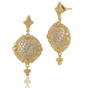 Freida Rothman Pave Disc Drop Earrings