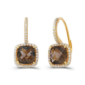 Lafonn Smoky Quartz Earrings with Clear Simulated Diamonds