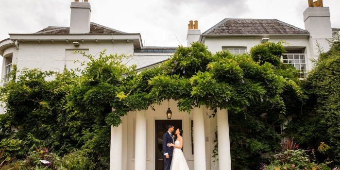 Bride & Groom in front of Pembroke Lodge, Richmond Park, London