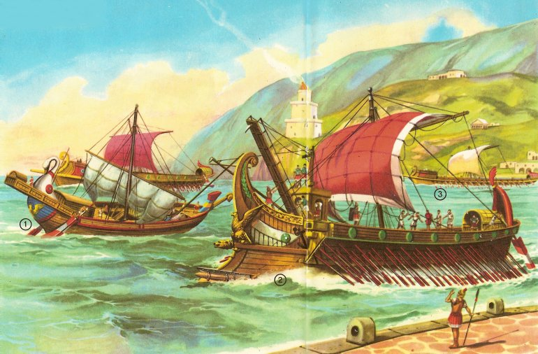 Roman ships maneuvering out of port