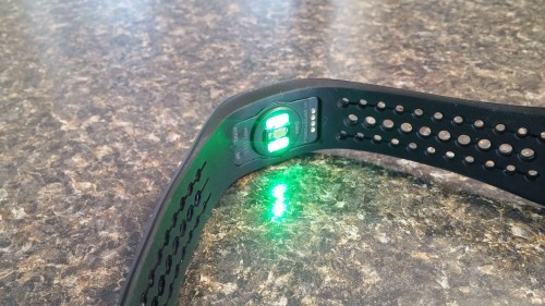 Sensor on. Green LEDs plus photo sensor = Heart Rate