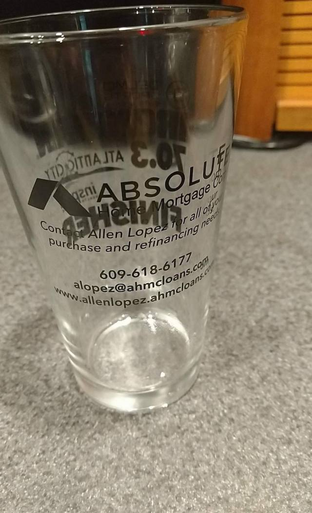 Finisher glass with sponsor business card
