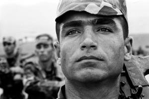 A Kurdish soldier in training for the Iraqi Army at Kanigama, the 1st Combat School in Iraqi Kurdistan.