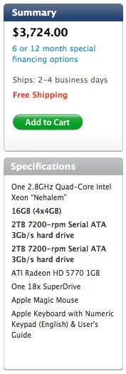 Apple Mac Pro Specs, early 2011