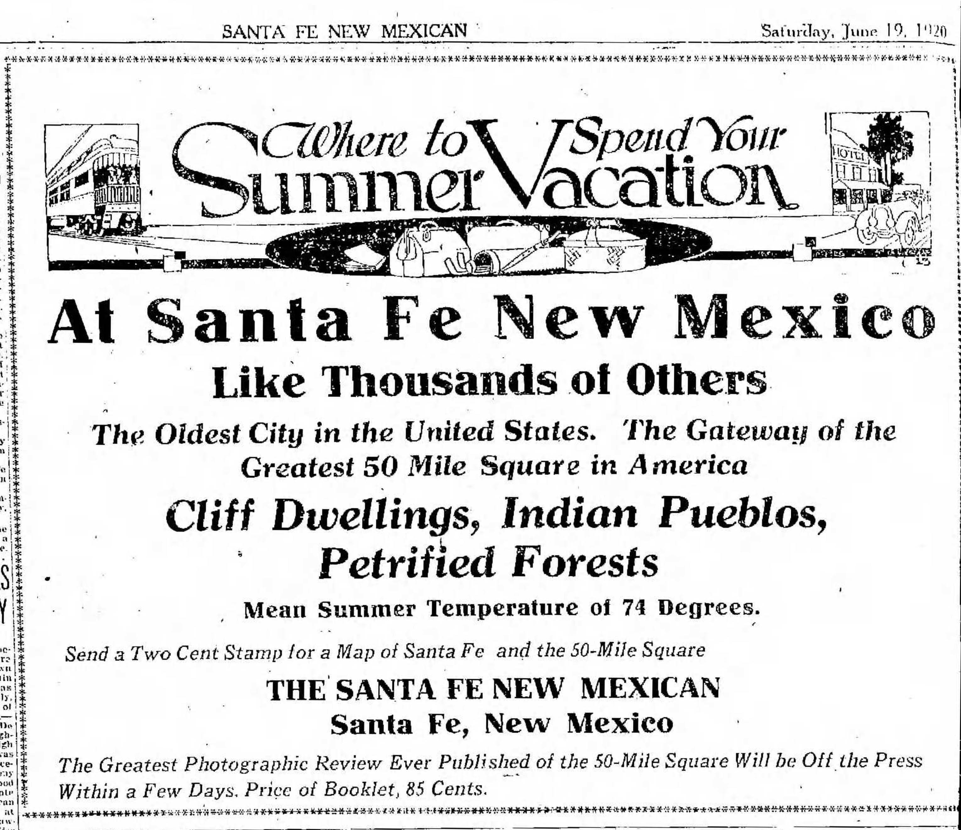 An ad from the Santa Fe New Mexican, June 19th, 1920.