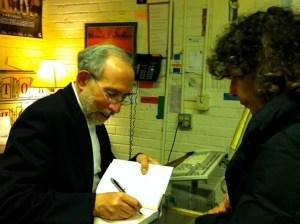 David halperin signing a book