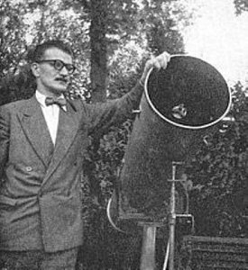 "Cedric Allingham with his telescope (frontispiece of ""Flying Saucer from Mars""). The man in the photo was in fact Peter Davies in disguise, and the telescope Patrick Moore's."
