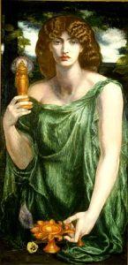 Mnemosyne, the goddess of memory. Dante Gabriel Rossetti, 1881.