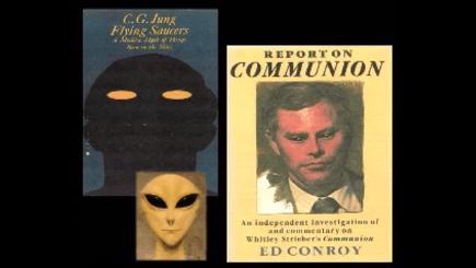 """Ed Conroy, """"Report on Communion"""" (1989). Collage from the """"True free thinker"""" website, www.truefreethinker.com. The cover portrait of Strieber is by Ted Jacobs, the same artist who painted the cover of """"Communion."""""""