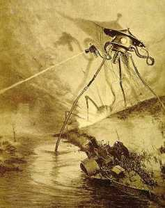 "Martian invader, from the 1906 French edition of H.G. Wells, ""The War of the Worlds."""