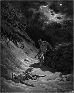 "Gustave Dore, ""Death of Abel"" (Wikimedia Commons). Did it come from above?"