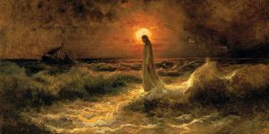 Christ walking on the water (Julius Sergius Von Klever, ca. 1880; from Wikimedia Commons).