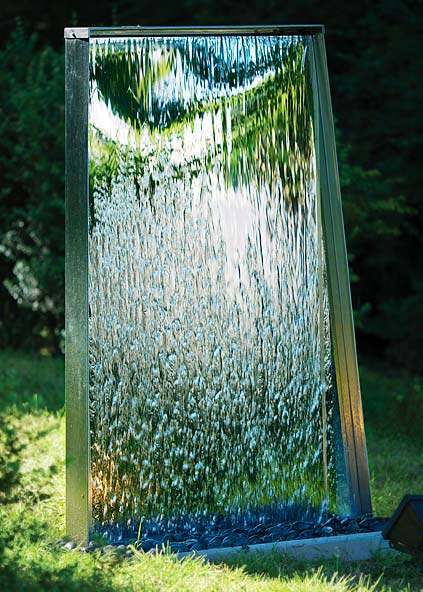 Water Wall in Stainless Steel: Self-contained Water ... on Backyard Feature Walls  id=40379