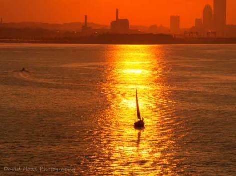 Boston Harbor Sailboat Sunset