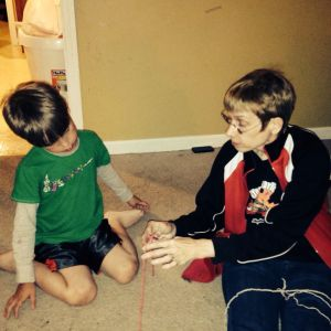 My mom also gave her grandson a few crocheting lessons.