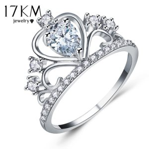 17KM Wedding Jewelry Finger Crystal Heart Crown Rings For Women New Lover Cubic Zirconia Ring Female Engagement Party Wholesale Image 2