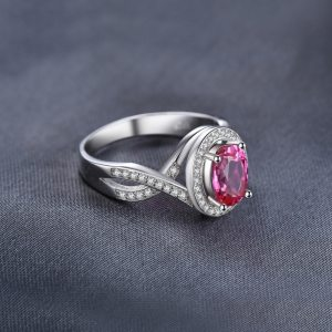 JewelryPalace Classic 1.8ct Oval Created Pink Sapphire Halo Promise Ring 925 Sterling Silver Jewelry New Fashion Rings For Women Image 2