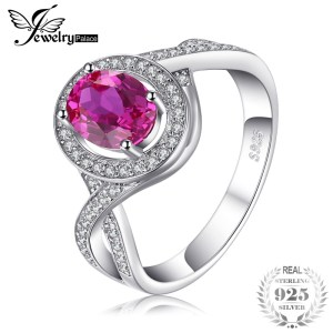 JewelryPalace Classic 1.8ct Oval Created Pink Sapphire Halo Promise Ring 925 Sterling Silver Jewelry New Fashion Rings For Women Image 1