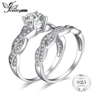 JewelryPalace Infinity 1.5ct Simulated Diamond Anniversary Promise Wedding Band Engagement Ring Bridal Sets 925 Sterling Silver Image 1