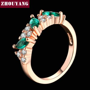 Top Quality ZYR361 Green Crystal Ring Rose Gold Color Austrian Crystals Full Sizes Wholesale Image 5