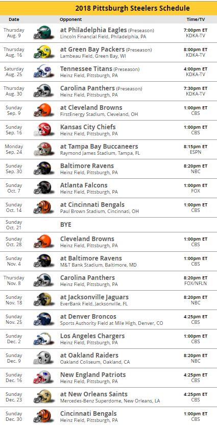 Steelers schedule for 2018 - DavidKeys.comSteelers Schedule