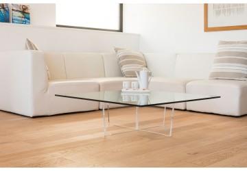 table basse transparente cristal carree