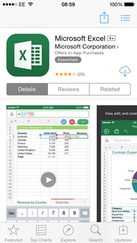 Excel app on the Apple App Store