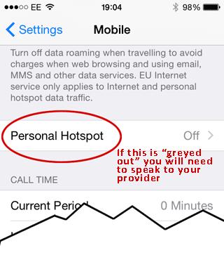 Turn on Hotspot