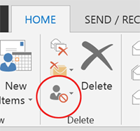 Outlook 2013 Junk Mail Option