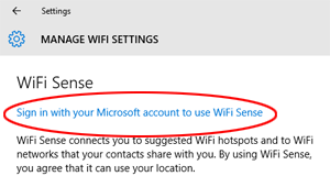 WiFi Sense - signed on to a Local Account