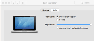 Normal Mac Display Options Window