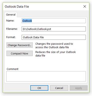 Outlook data file settings
