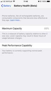 IOS v11.3 Battery Health