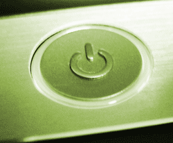 The power switch on a Samsung RF511 laptop