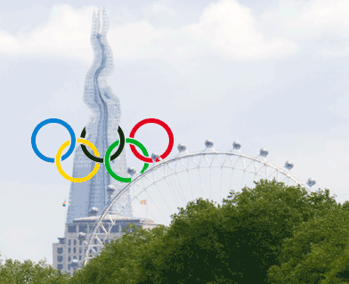 Olympic rings distorting The Shard