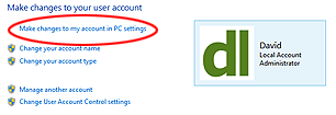 "Figure 2. To switch between Local and Microsoft accounts, you must choose ""Make changes to my account in PC Settings"" rather than the more likely-seeming option of ""Change my account type"" which is below it. A bit clunky, isn't it?"