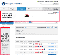 TfL Journey Planner Website with Ads