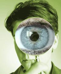 A big eye through a magnifying glass